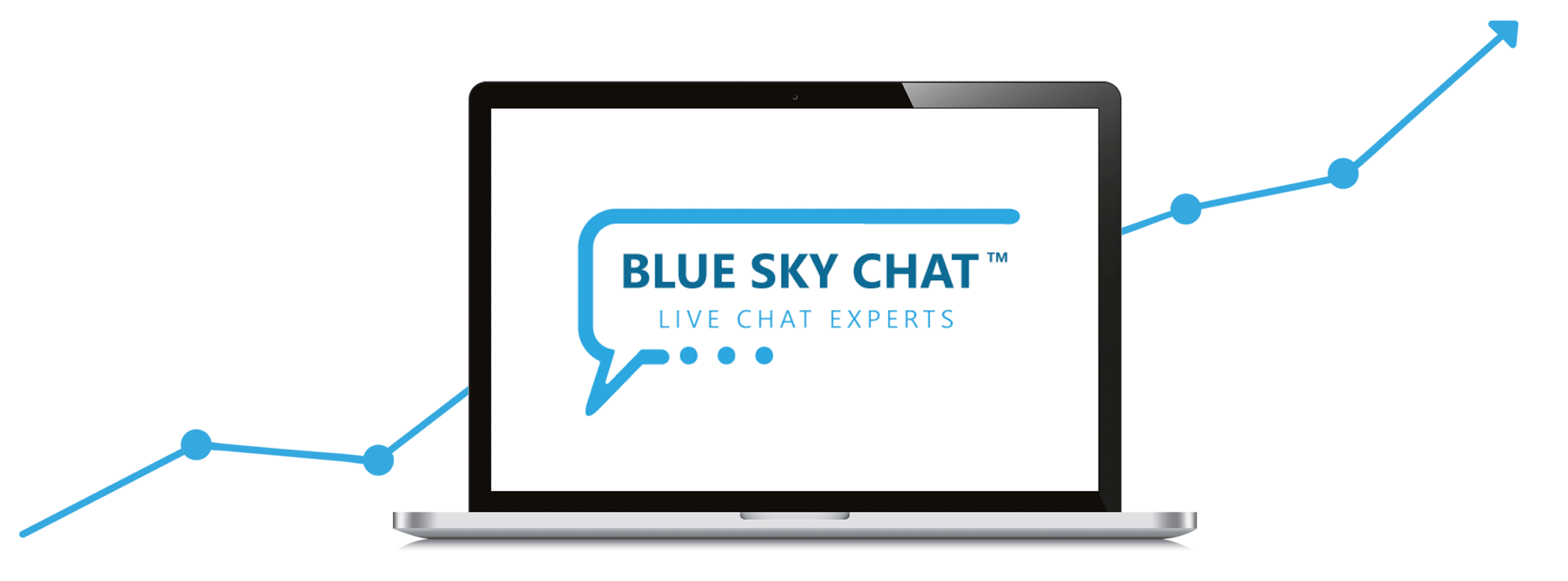 Computer with a logo of Blue Sky Chat
